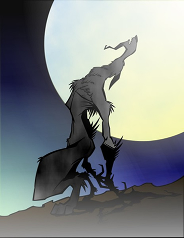 Wolfman howling at the moon